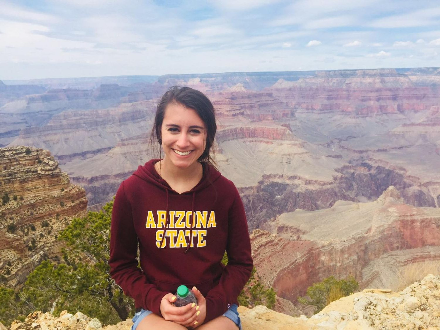 Jessica Walter wears her Arizona State sweatshirt on a trip to the Grand Canyon, she will be much closer to this earthly wonder when she starts school at Arizona State in the fall.